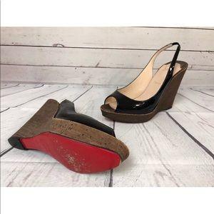 Christian Louboutin patent wedge Peep Shoe 41 10.5